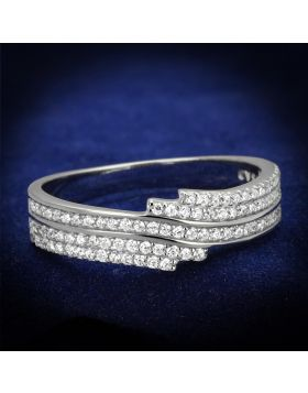 TS367-6 - 925 Sterling Silver Rhodium Ring AAA Grade CZ Clear