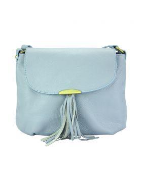 Angelica leather shoulder bag - Light Cyan