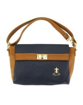 Fatima leather bag - Dark Blue/Tan