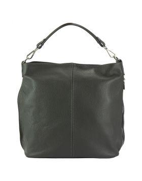 The Donata Leather Hobo Bag - Grey