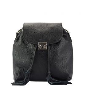 Bougainvillea leather backpack - Black