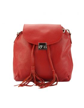 Bougainvillea leather backpack - Red