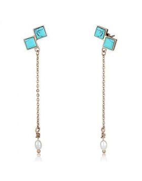 TK2814 - Stainless Steel IP Rose Gold(Ion Plating) Earrings Synthetic Sea Blue