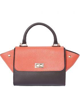 Silvana leather bag - Coral/Blue