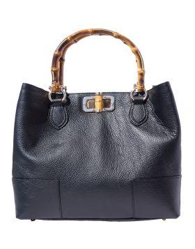 Fabrizia Leather Handbag - Dark Blue
