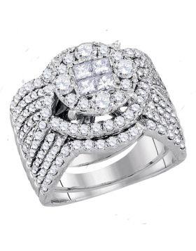 14kt White Gold Womens Princess Round Diamond Soleil Bridal Wedding Engagement Ring Band Set 2-1/2 Cttw