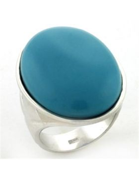 LOAS760-5 - 925 Sterling Silver Rhodium Ring Synthetic Turquoise