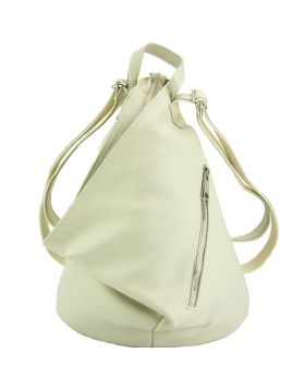 Clapton Backpack in Supple small-grained leather - Beige