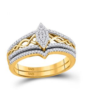 10kt Yellow Gold Womens Round Diamond Oval Cluster Bridal Wedding Engagement Ring Band Set 1/3 Cttw