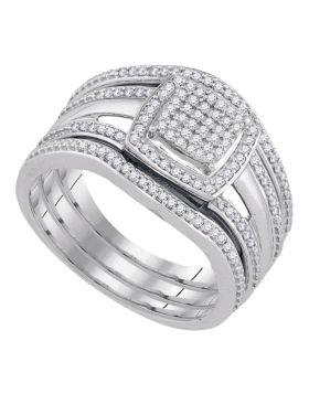 10kt White Gold Womens Round Diamond Square Bridal Wedding Engagement Ring 3-Piece Set 1/3 Cttw