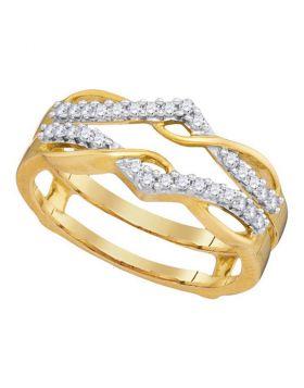 10kt Yellow Gold Womens Round Diamond Wrap Ring Guard Enhancer Wedding Band 1/4 Cttw