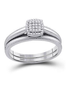 10kt White Gold Womens Round Diamond Bridal Wedding Engagement Ring Band Set 1/10 Cttw