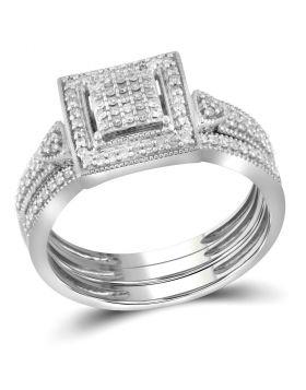 10kt White Gold Womens Diamond Square 3-Piece Bridal Wedding Engagement Ring Band Set 1/3 Cttw