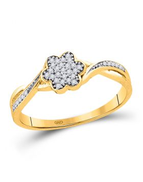 10kt Yellow Gold Womens Round Diamond Flower Cluster Ring 1/10 Cttw