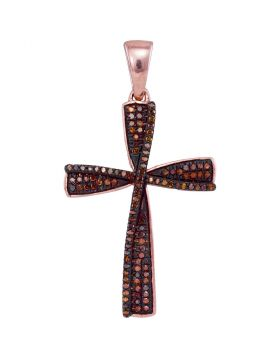 10kt Rose Gold Womens Round Red Color Enhanced Diamond Cross Pendant 1/4 Cttw