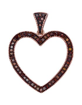 10kt Rose Gold Womens Round Red Color Enhanced Diamond Heart Pendant 1/5 Cttw