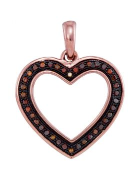 10kt Rose Gold Womens Round Red Color Enhanced Diamond Heart Pendant 1/10 Cttw