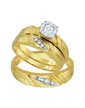 10k Yellow Gold Round Diamond Matching Unisex Womens Halo Trio Wedding Bridal Ring Set 1/6 Cttw