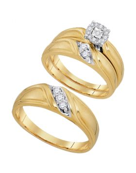 10kt Yellow Gold His & Hers Round Diamond Solitaire Matching Bridal Wedding Ring Band Set 1/4 Cttw