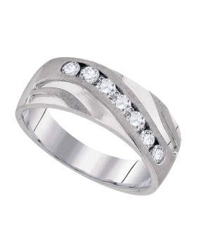 10kt White Gold Unisex Round Diamond Wedding Band Ring 1/2 Cttw