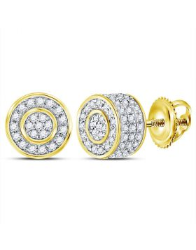 10kt Yellow Gold Unisex Round Diamond 3D Cluster Stud Earrings 3/4 Cttw