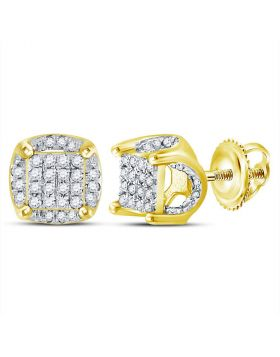 10kt Yellow Gold Unisex Round Diamond Cluster Stud Earrings 1/5 Cttw