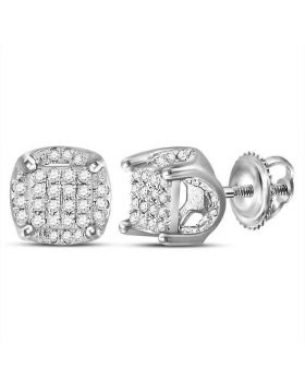 10kt White Gold Unisex Round Diamond Cluster Stud Earrings 1/5 Cttw