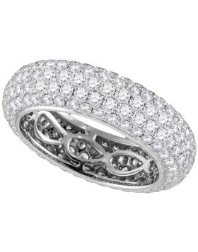 14kt White Gold Womens Round Pave-set Diamond Comfort Wedding Band Ring 3-1/3 Cttw