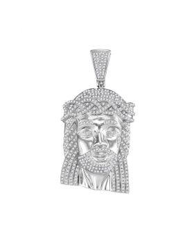10kt White Gold Unisex Round Diamond Jesus Head Messiah Charm Pendant 1-5/8 Cttw