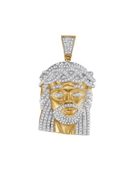 10kt Yellow Gold Unisex Round Diamond Jesus Christ Messiah Charm Pendant 1.00 Cttw