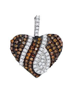 10kt White Gold Womens Round Brown Diamond Heart Pendant 1/3 Cttw