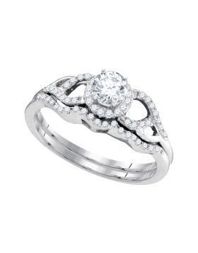 14k White Gold Womens Round Diamond Bridal Wedding Engagement Ring Band Set 3/8 Cttw