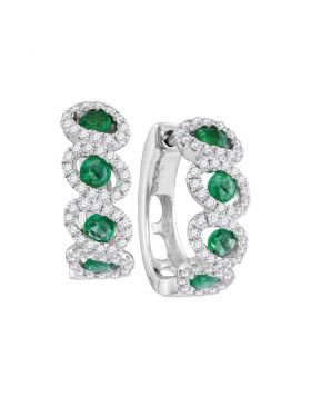 14kt White Gold Womens Round Emerald Diamond Hoop Earrings 1-3/8 Cttw