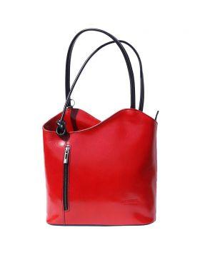 Cloe leather shoulder bag - Red/Black