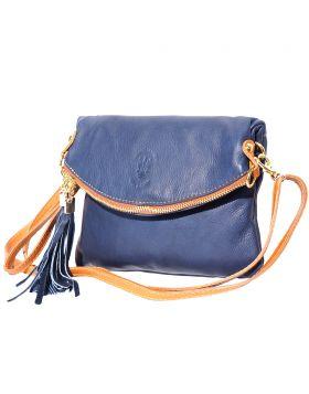 Graziella leather Clutch - Blue/Tan