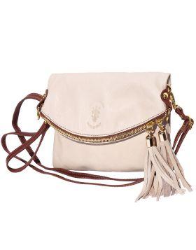 Graziella folded clutch in soft calf skin leather - Beige/Brown