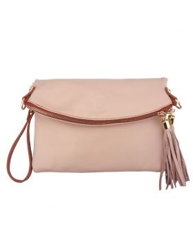 Graziella folded clutch - Light Taupe/Tan
