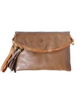 Graziella folded clutch - Dark Taupe/Brown