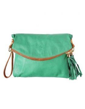 Graziella folded clutch - Green/Tan