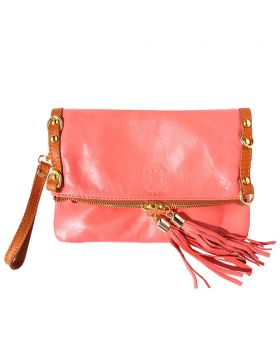 Giorgia GM leather clutch - Coral