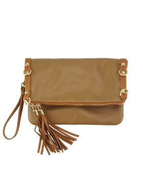 Giorgia GM leather clutch - Dark Brown