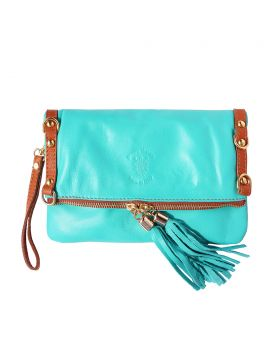Giorgia GM leather clutch - Turquoise