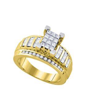14kt Yellow Gold Womens Princess Diamond Cindys Dream Cluster Bridal Wedding Engagement Ring 7/8 Cttw