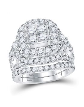 14kt White Gold Womens Princess Diamond Cluster Bridal Wedding Engagement Ring Band Set 3-1/3 Cttw
