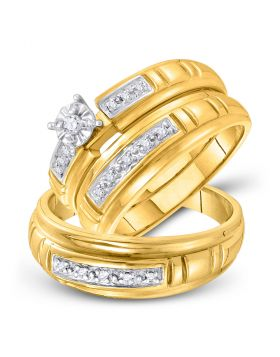 10kt Yellow Gold His & Hers Round Diamond Solitaire Matching Bridal Wedding Ring Band Set 1/6 Cttw
