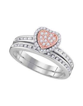10kt White Gold Womens Round Diamond Rose-tone Heart Bridal Wedding Engagement Ring Band Set 1/4 Cttw