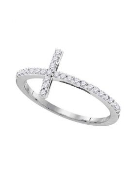 10kt White Gold Womens Round Diamond Cross Religious Band Ring 1/5 Cttw