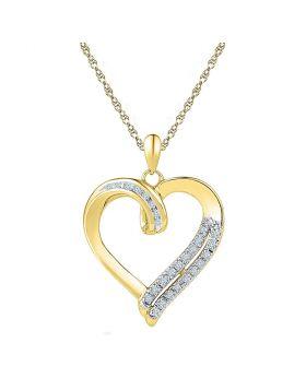 10kt Yellow Gold Womens Round Diamond Heart Pendant 1/10 Cttw
