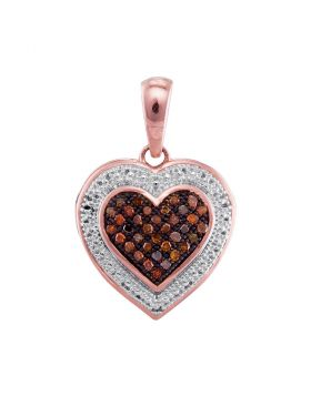 10kt Rose Gold Womens Round Red Color Enhanced Diamond Heart Pendant 1/8 Cttw