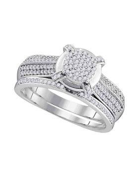 10kt White Gold Womens Round Diamond Cluster Bridal Wedding Engagement Ring Band Set 1/2 Cttw